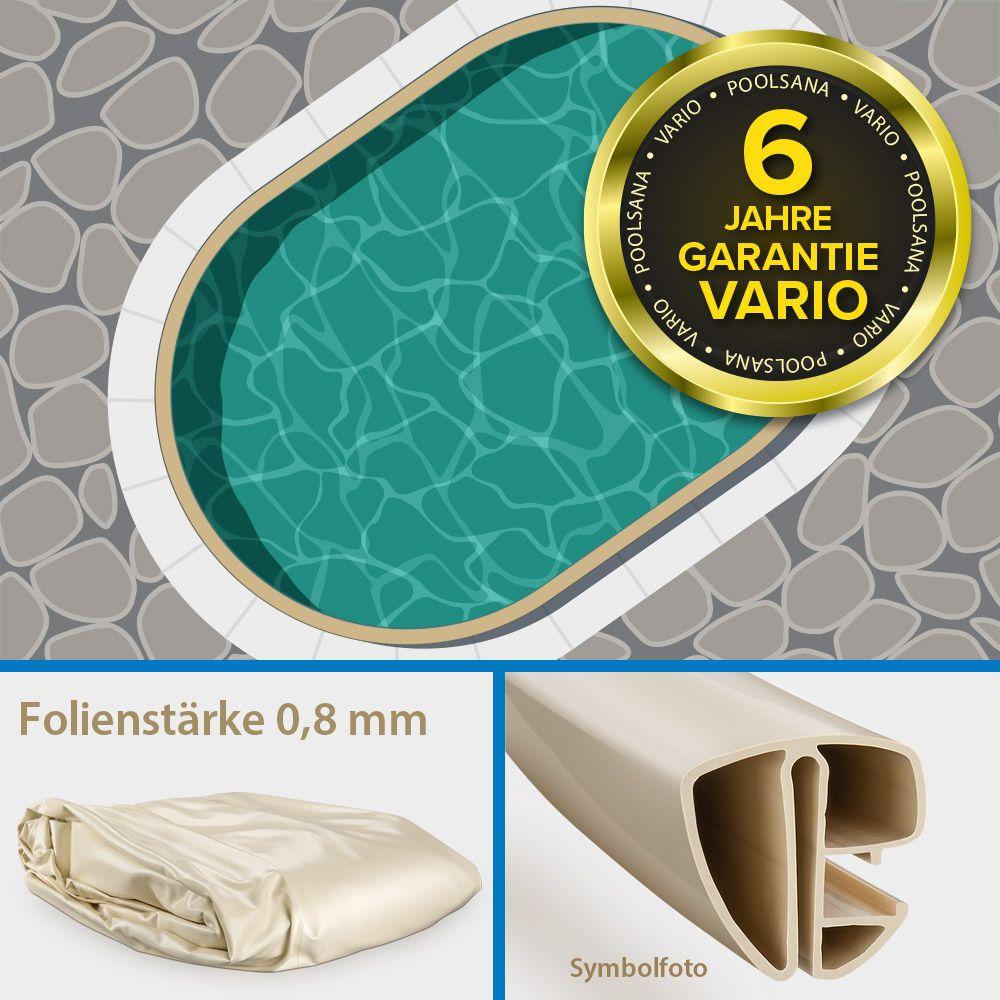 Einzelbecken Stahlwand-Ovalpool PS VARIO 6,23 x 3,60 x 1,50 m | Folie + Handlauf sand