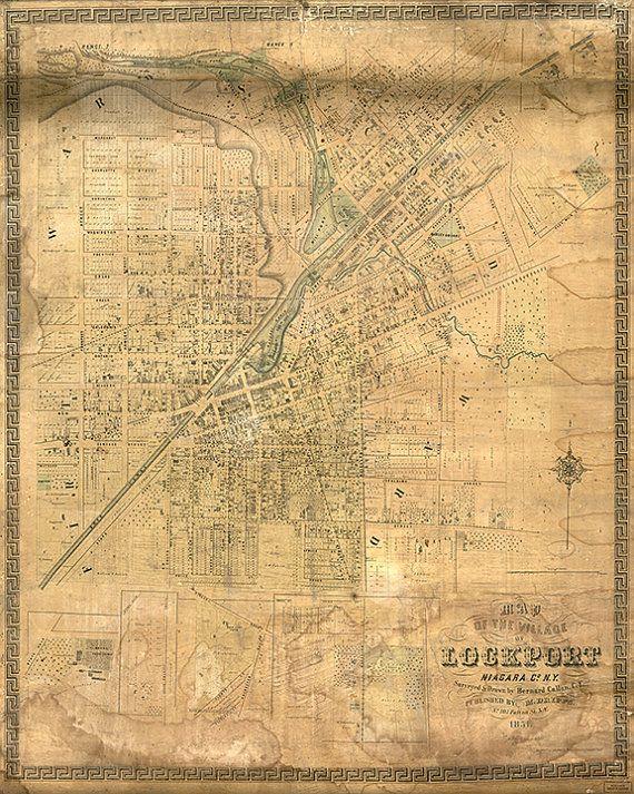 Map Of Lockport Niagara Co New York NY Vintage - Restoration hardware paris map