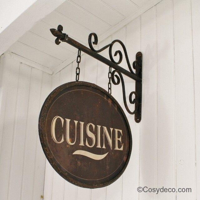 Plaque cuisine m tal rouge ambiance bistrot cuisines - Plaque murale cuisine ...