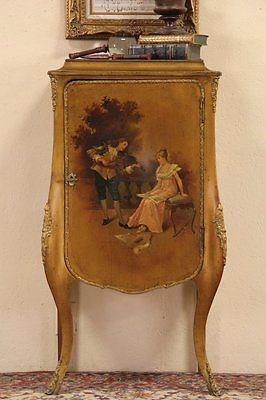 Vernis-Martin-Hand-Painted-French-1900-Antique-Music-Cabinet