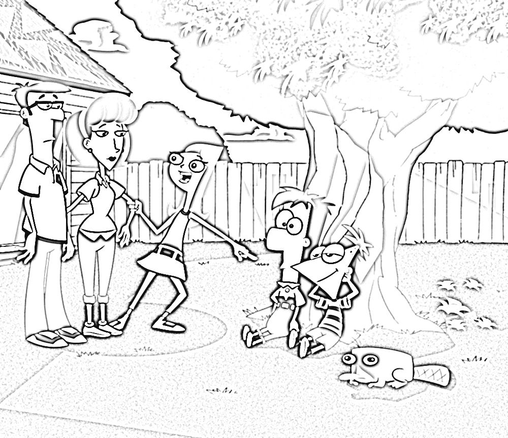 Phineas and Ferb Coloring Pages | Disney Phineas and Ferb Coloring ...