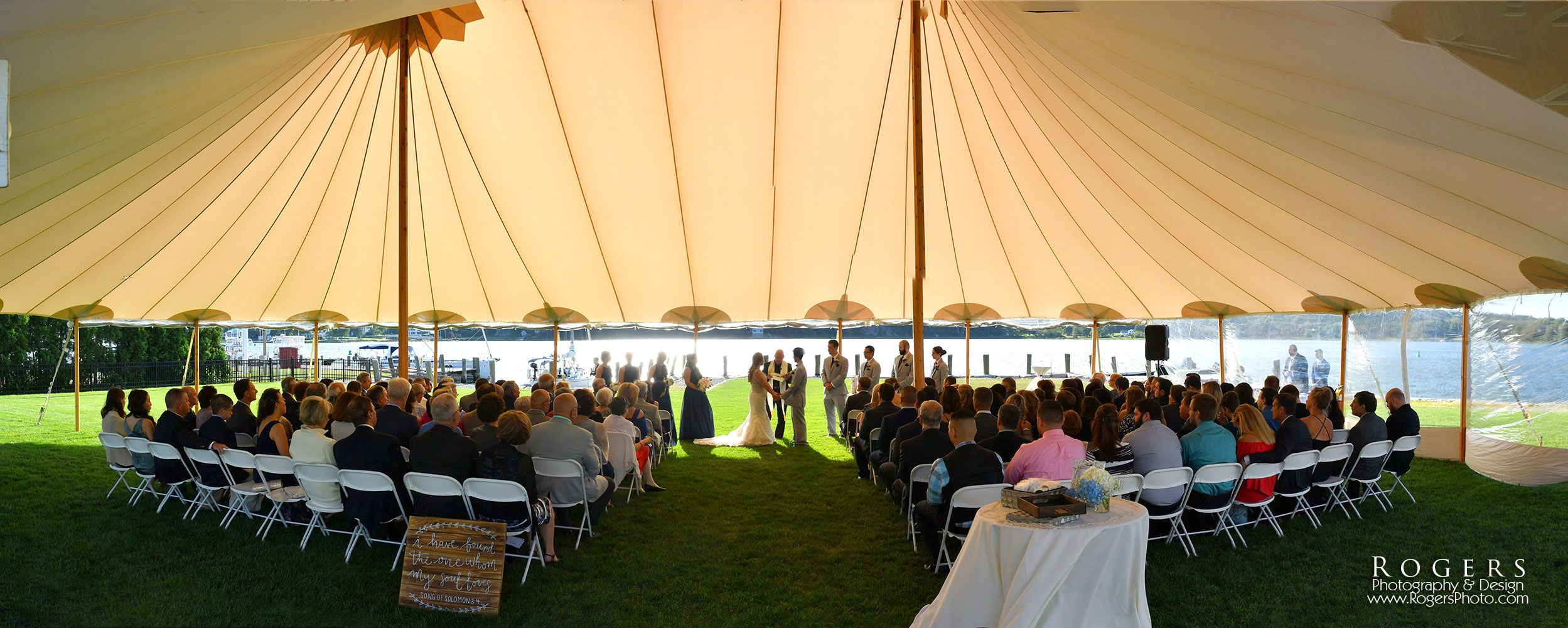 Ceremony Held Under A Classic Tent At Latitude 41 At Mystic