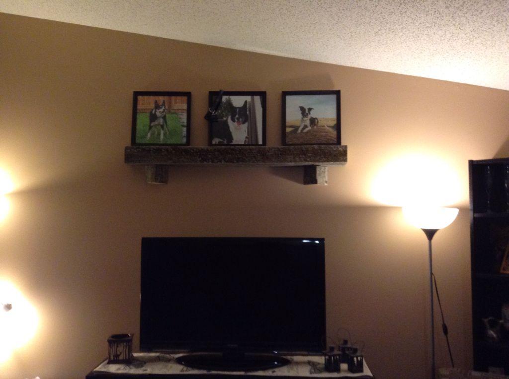 Barn wood picture shelf.