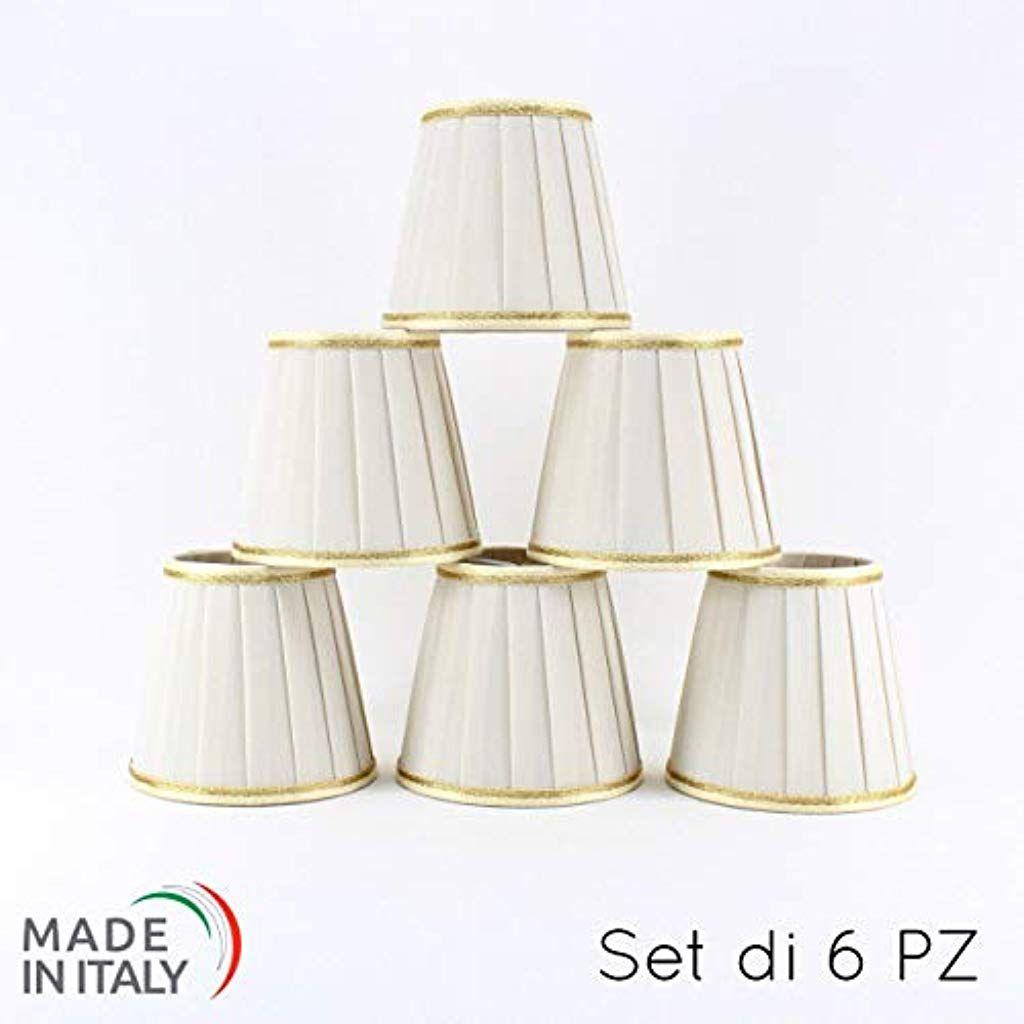 Set di 6 Paralumi Plissettati D.12 cm per Lampadario