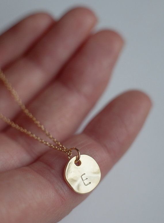 Gold round disc initial necklace bridesmaid jewelry personalized gold round disc initial necklace bridesmaid jewelry personalized letter necklace initial pendant necklace mozeypictures Image collections