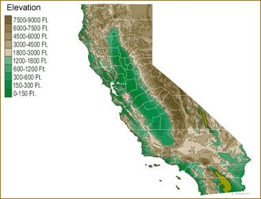 Elevation Map The Golden State Pinterest Lakes In California