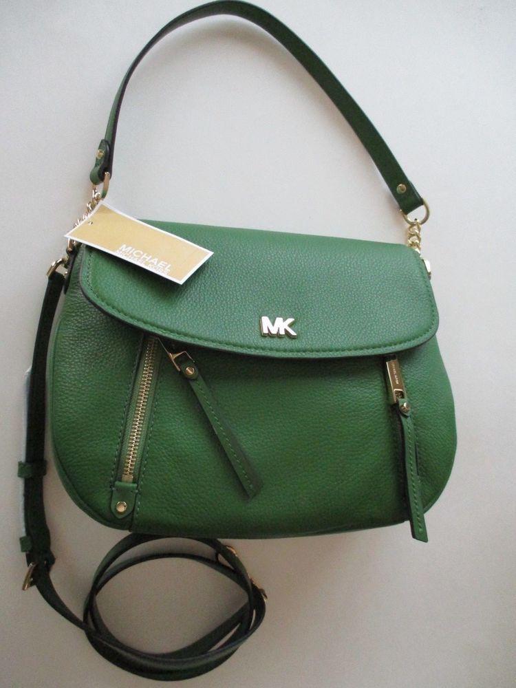 167e9e1c73e3 NWT MICHAEL KORS EVIE Medium Shoulder Bag in True Green Pebbled Leather