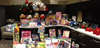 It's Toys for Tots pick up day 2013 at Xtel!