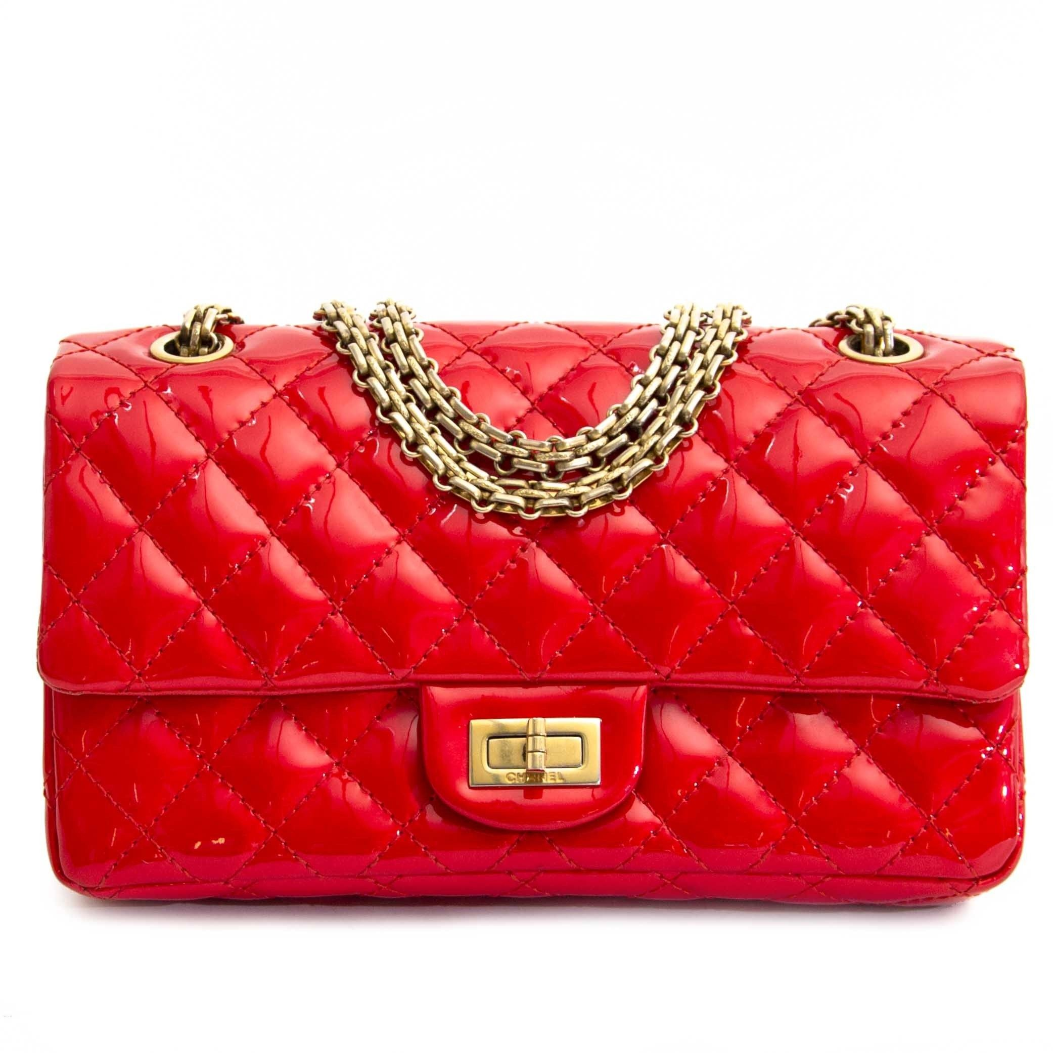 4f9f18c78ffa Chanel Patent Red Quilted Accordion Reissue 2.55 Flap Bag