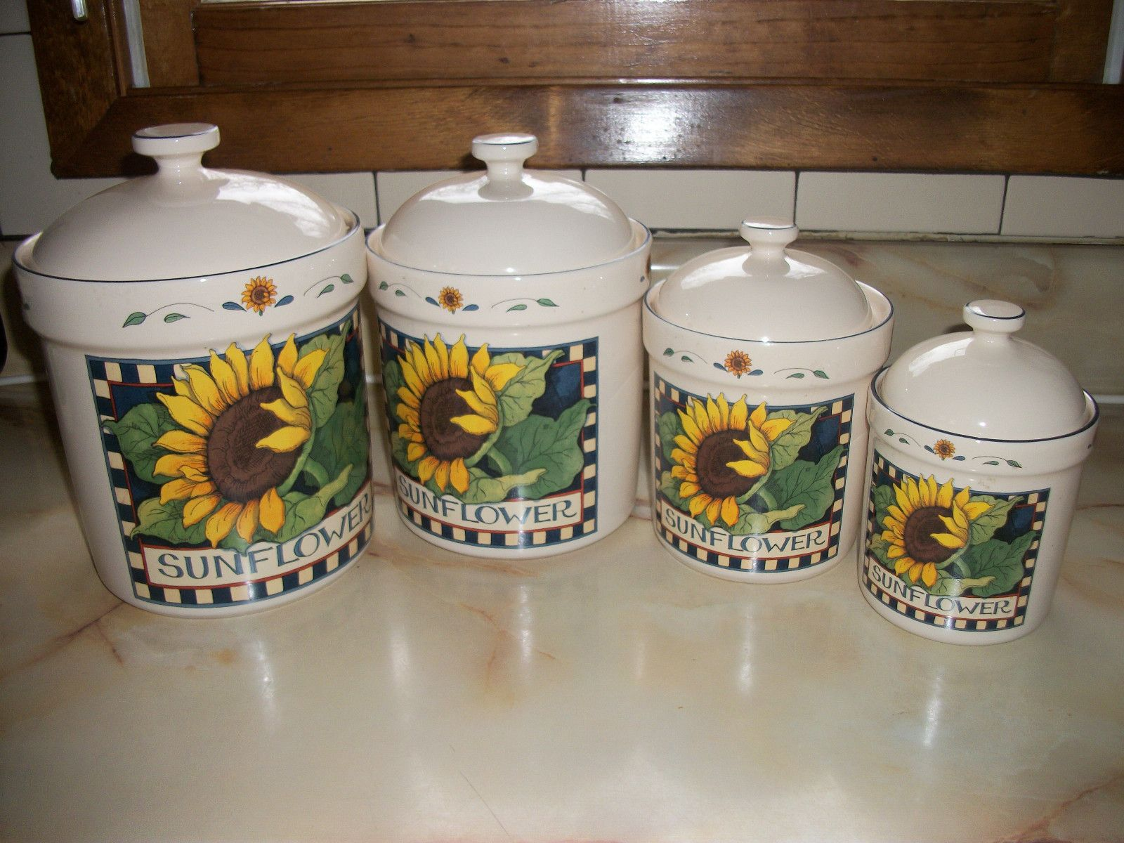 Certified international parisian fruit canister by susan winget set - Susan Winget Sunflower Canisters