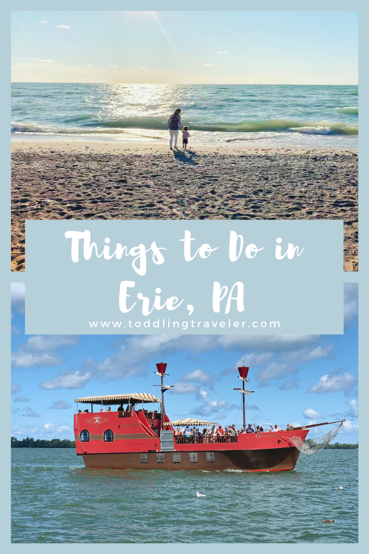 Planning a weekend trip to Erie, PA? We have you covered with the best things to do in Erie, from Waldameer Amusement Park and the Erie Zoo to Presque Isle State Park and several awesome local eateries. While this post is a guide to Erie, PA in the summer, it's a great place to visit all year long. #visitpa #pennsylvania #usatravel #lakeerie #eriepa #weekendgetaway #familyvacation #roadtrip #travelwithkids #lakelife #pirateship #beachpictures