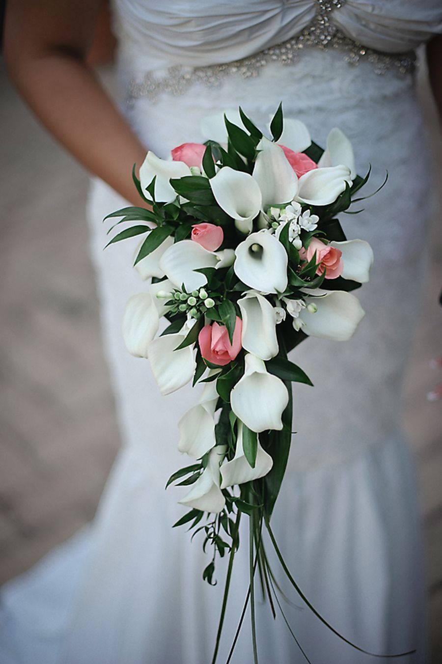 Waterfall Wedding Bouquet Of White And Pink Flowers For Wedding In