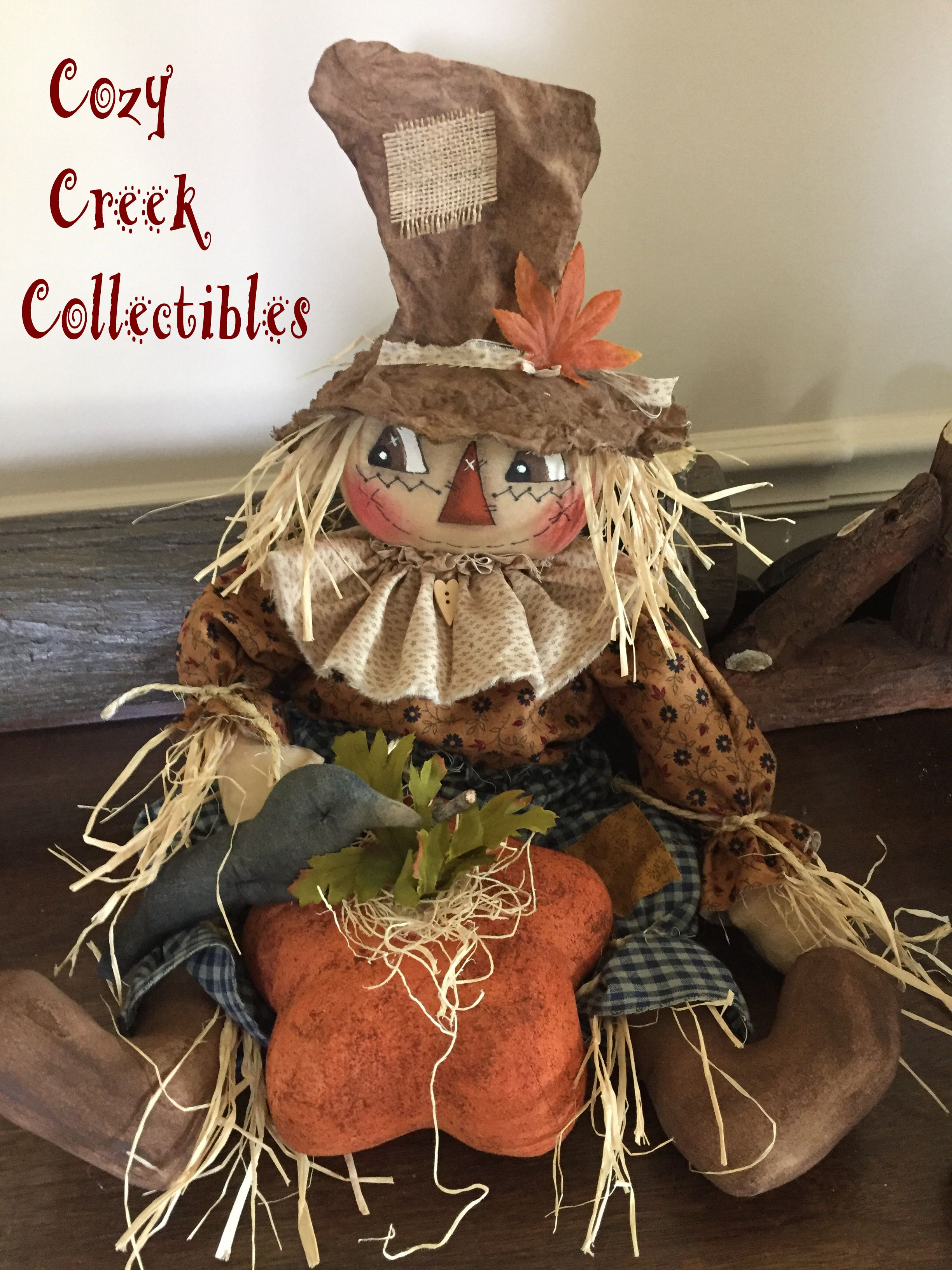 Handmade Primitive Raggedy Patch Scarecrow Boy With