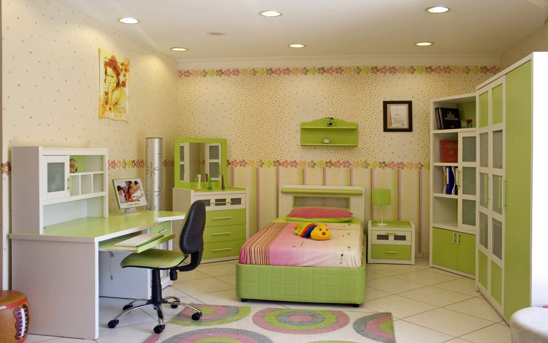 Bed pillow doll cabinet table chair rug lamps wallpaper home
