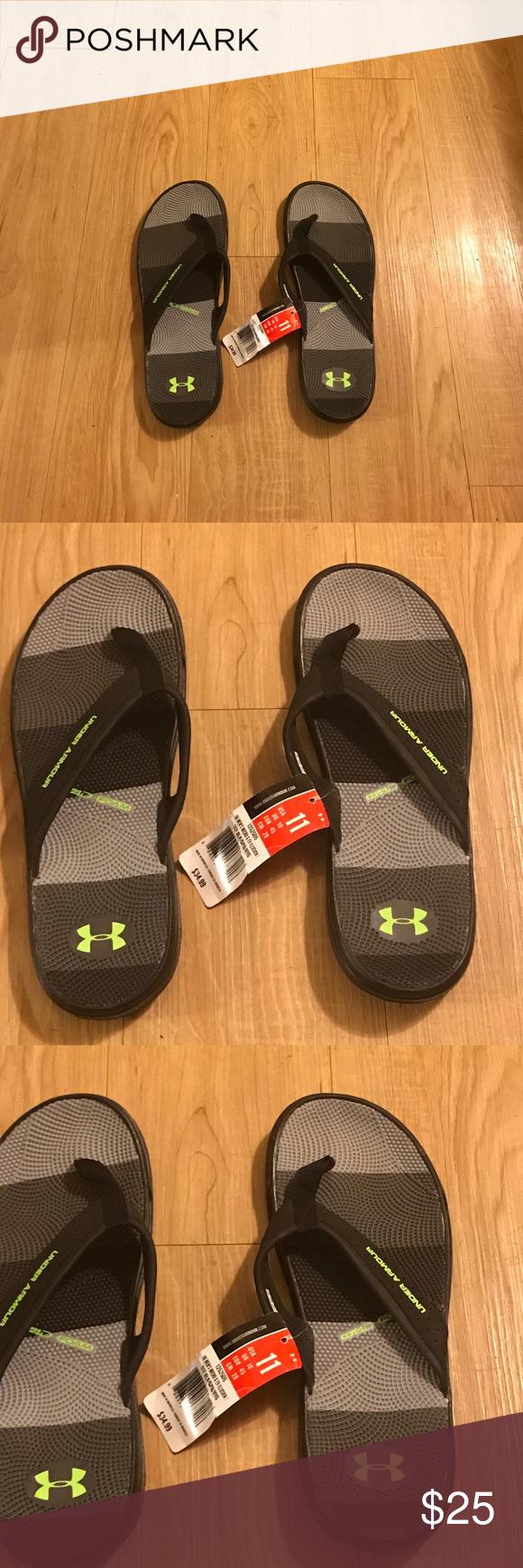Men's Under Armour Flip Flops Men's Black,Grey and Green Under Amour Flip Flops Under Armour Shoes Sandals & Flip-Flops