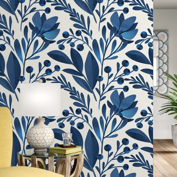 """Keper Removable Flowers Leaves 10' L x 25"""" W Peel and Stick Wallpaper Roll"""