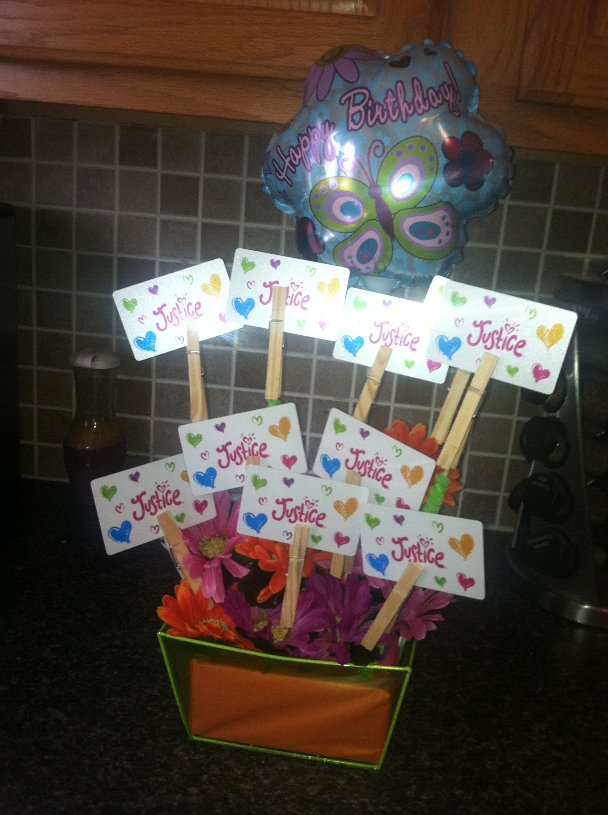 Cool Way To Give A Gift Card Hot Glue Clothes Pins Onto Wooden Skewers Stick In Floral Foam And Put In Cute Bask Neat Gift Ideas Crafty Gifts Creative Gifts