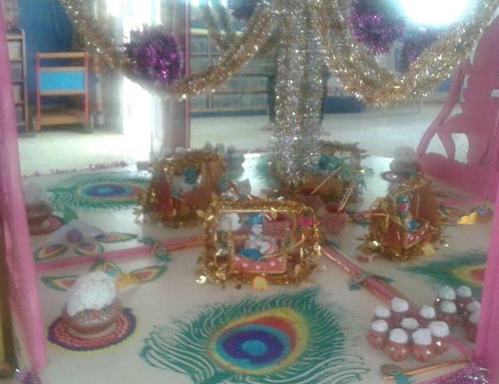 Rangoli Decoration Ideas For Krishna Janmashtami Janmashtami Decoration Ideas Pinterest