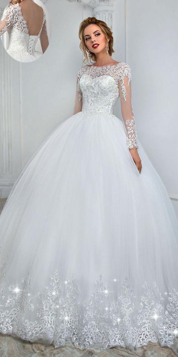 Eleganter Tüll Bateau-Ausschnitt Ballkleid Brautkleid mit Spitzenapplikationen & Perlen