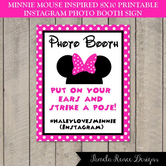 Minnie Mouse Inspired 8x10 Instagram Photo Booth Sign