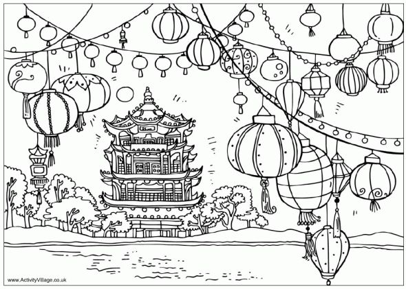 Chinese Coloring Page Temple And Lanterns New Year Coloring