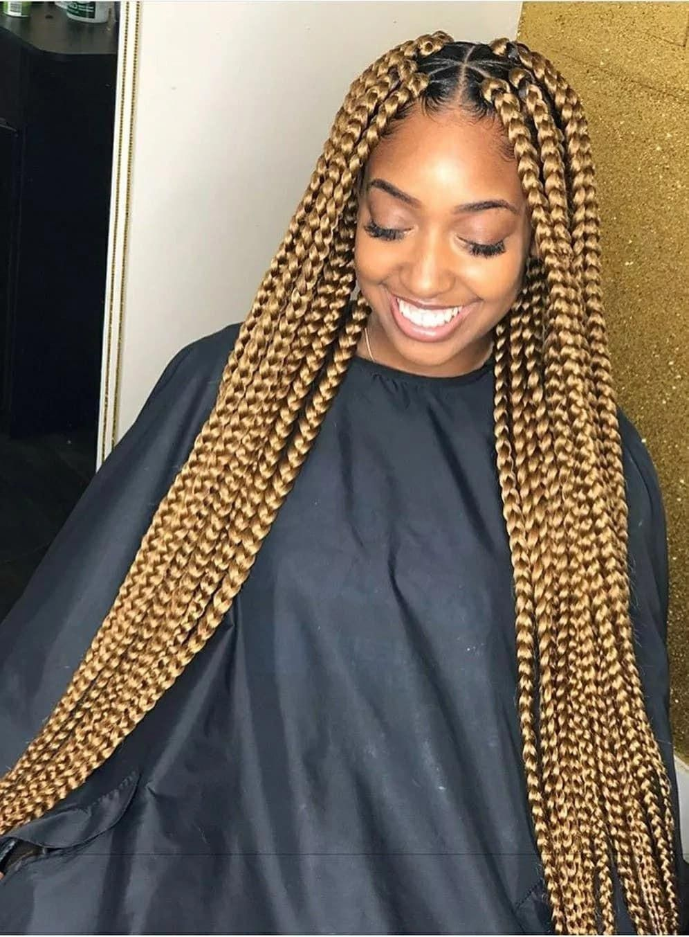 Jumbo Box Braids Hairstyles For Nigerian Beauties A Legitng Big Box Braids Hairstyle Braidshairst Big Box Braids Hairstyles Blonde Braids Box Braids Styling