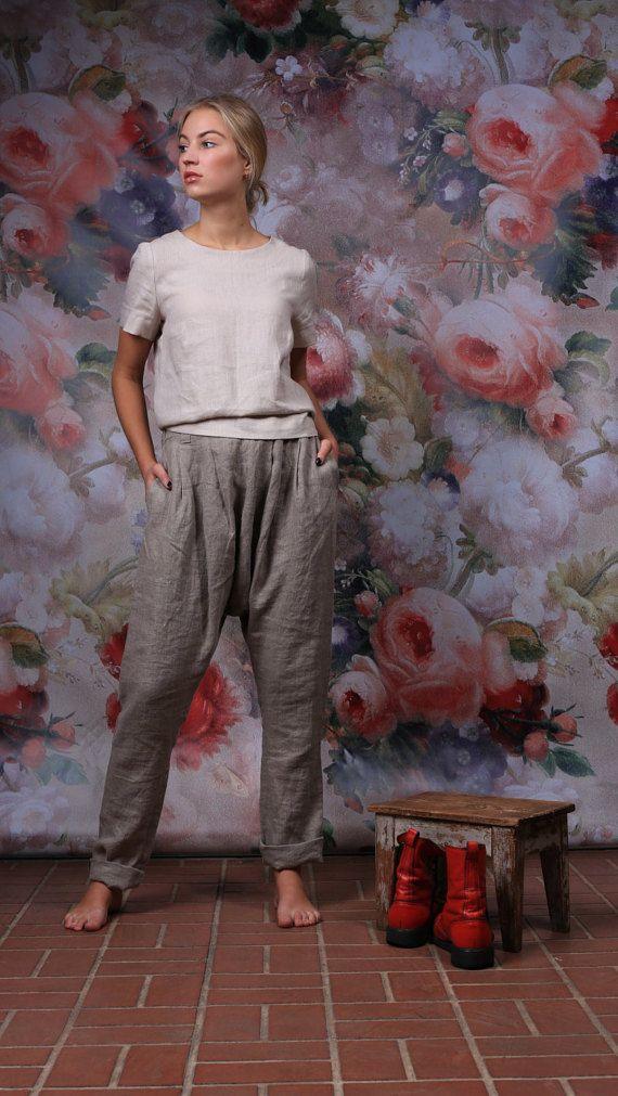 LINEN pants / Loose womens trousers / Casual loose linen wide leg pants / harem pants