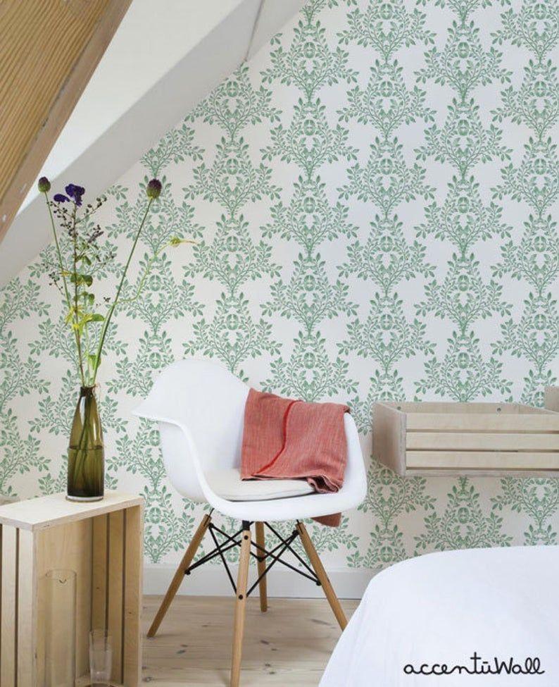 Damask Leaves Wallpaper Nature Green On White Peel Stick Etsy Charlton Home Color Tile Room Makeover