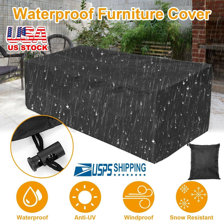 Waterproof Garden Patio Furniture Cover Rectangular Outdoor Rattan Table Cover