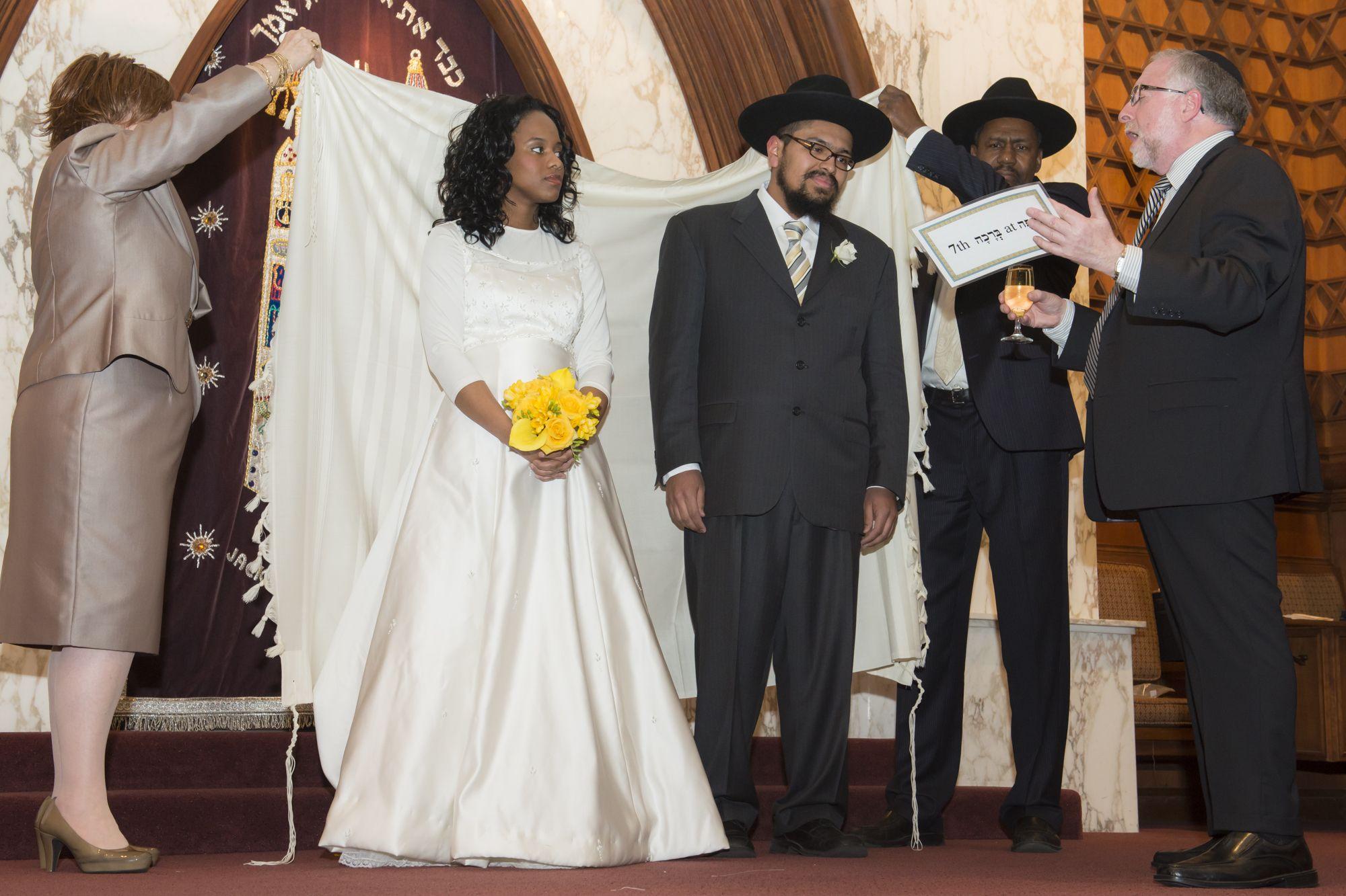 Rabbi Simon Benzaquen Recites The Sheva Brachot At Wedding Of Chana And Yosef Brown In