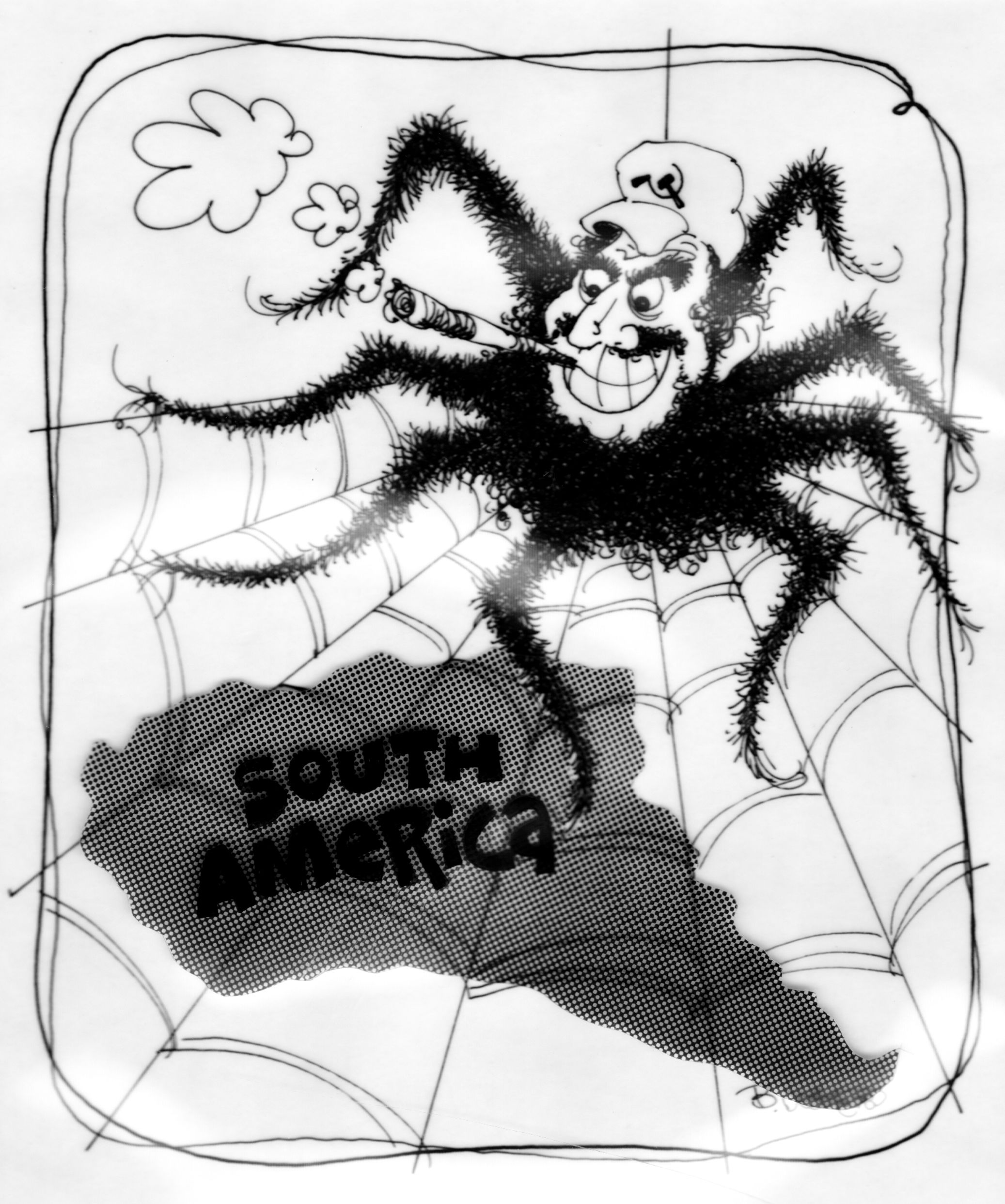 castro spider cartoon 1978 de soto designs political cartoons