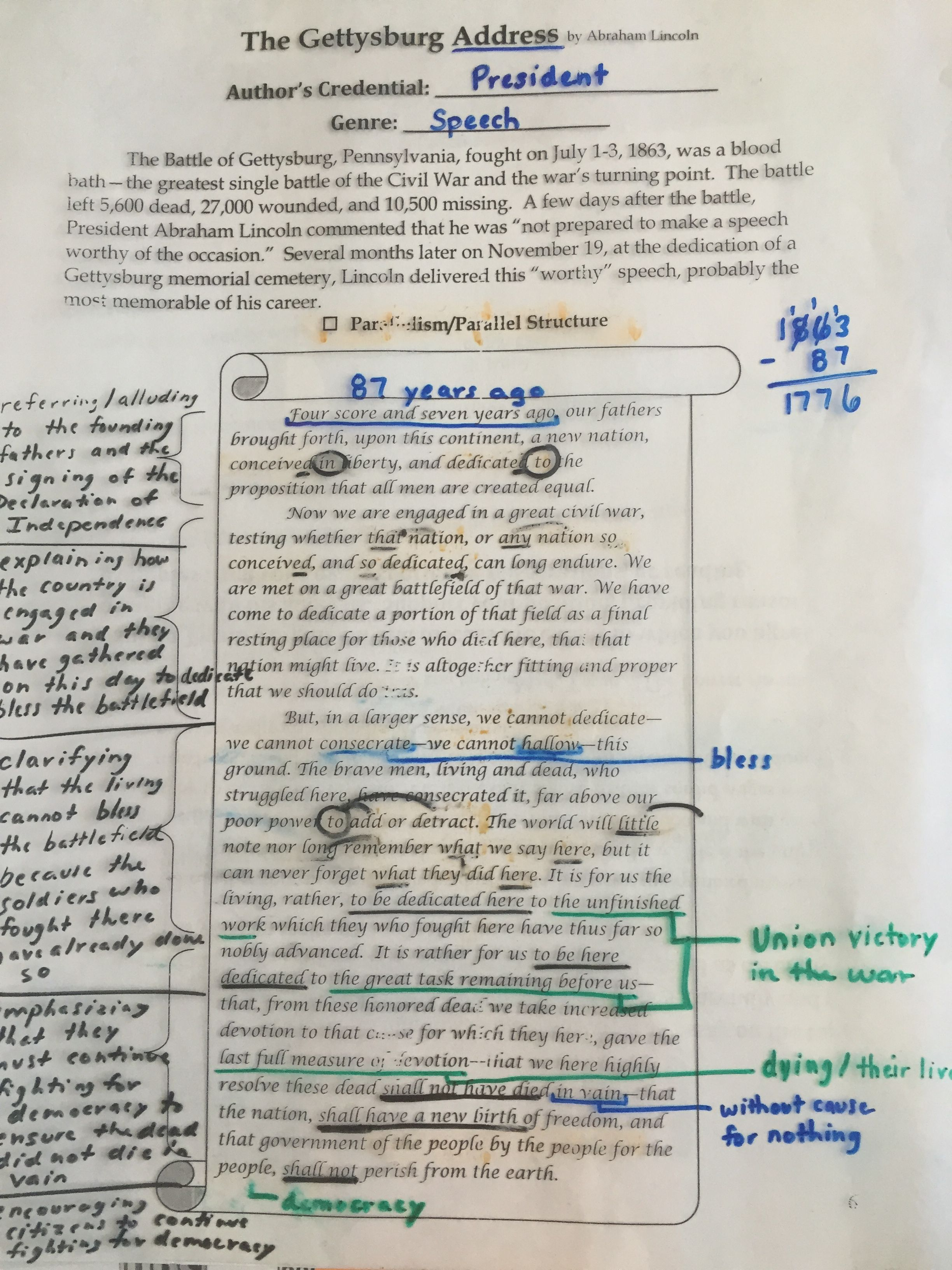 The Gettysburg Addres Annotating And Parallelism Adres English Language Art Classroom Raven Poem Annotated