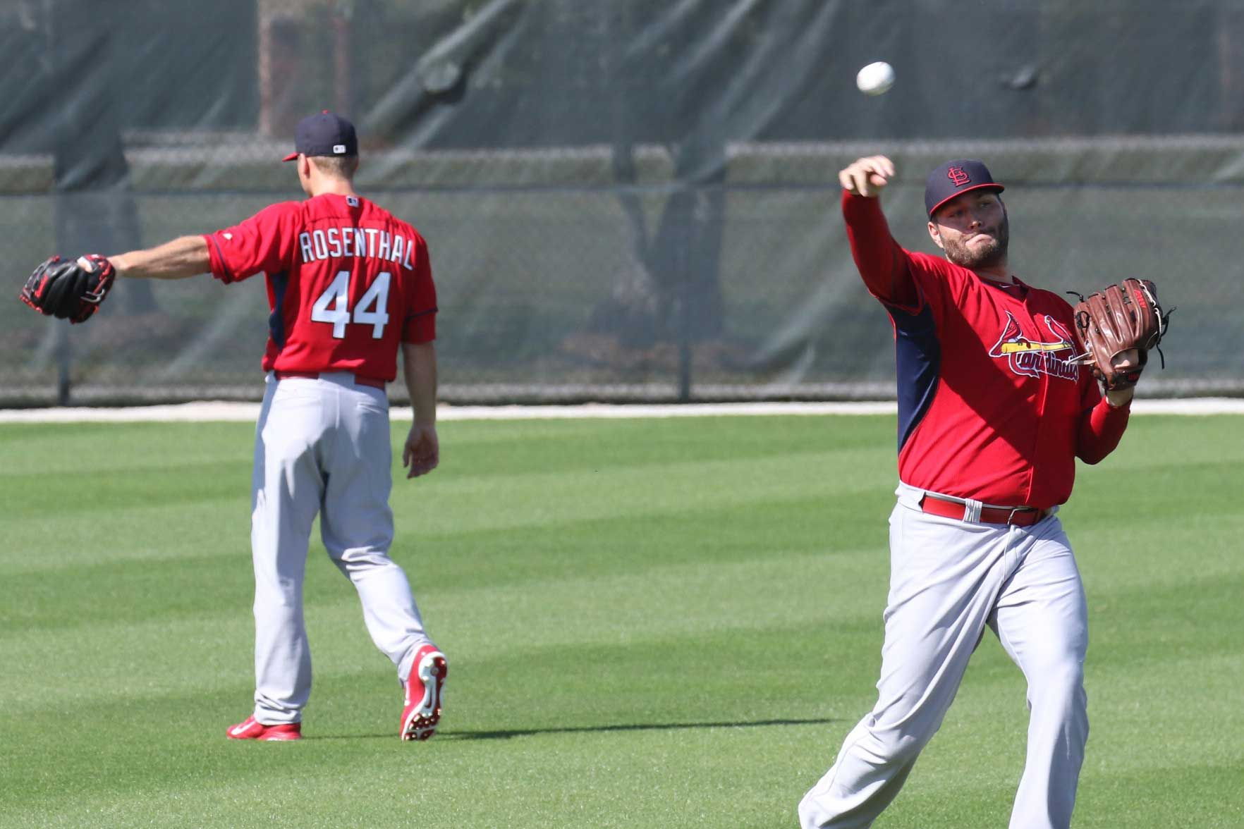 Lance Lynn & Trever Rosenthall warming up First Day of Cardinals Spring Training 2015 | this pin made possible by www.wfpcc.com