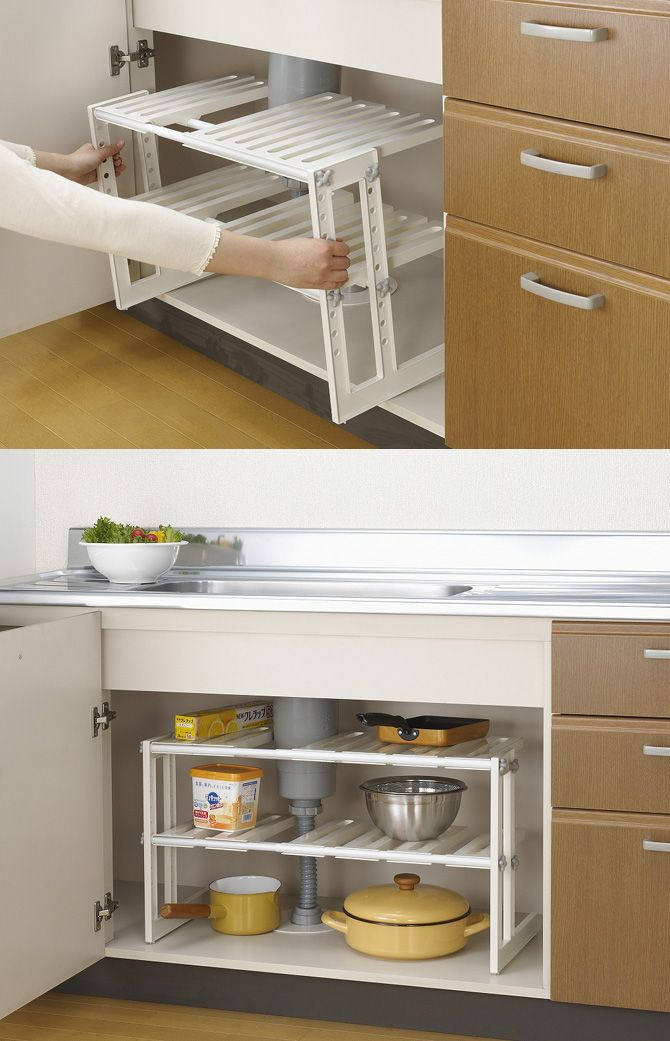 楽天市場 シンク下 フリーラック2段 伸縮タイプ キッチン収納 シンク