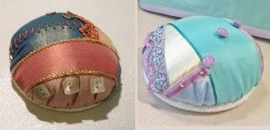 """Diary & tutorial for a brilliant crazy quilt pincushion, part two. (The original idea for this pincushion came from the blog """"Ivory Blush Roses."""")"""