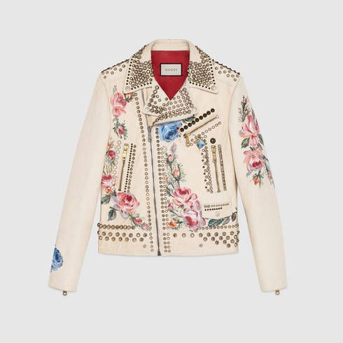 GUCCI Hand-Painted Leather Biker Jacket.  gucci  cloth  men s leather b767a5d4a31