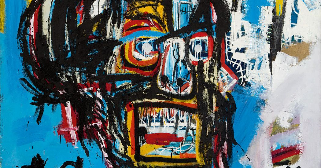Basquiat's vibrant painting of a face in the shape of a skull set an auction record for a work by any American artist, beating Andy Warhol.