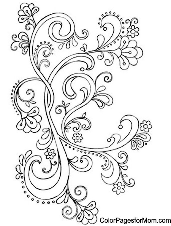 Paisley Coloring Page 23 … | Rosemaling pattern, Paisley ...