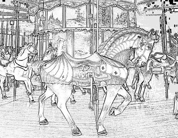 These Are Realistic Coloring Pages Of Carousel Horses Volume 5