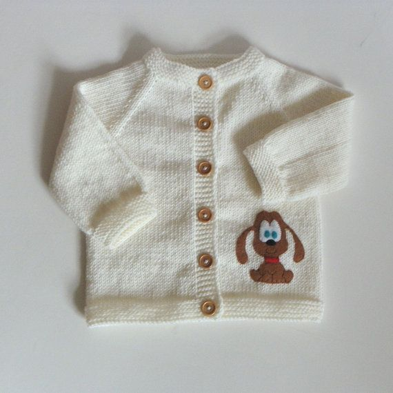 Knitted baby sweater with funny puppy white merino wool por Tuttolv ...