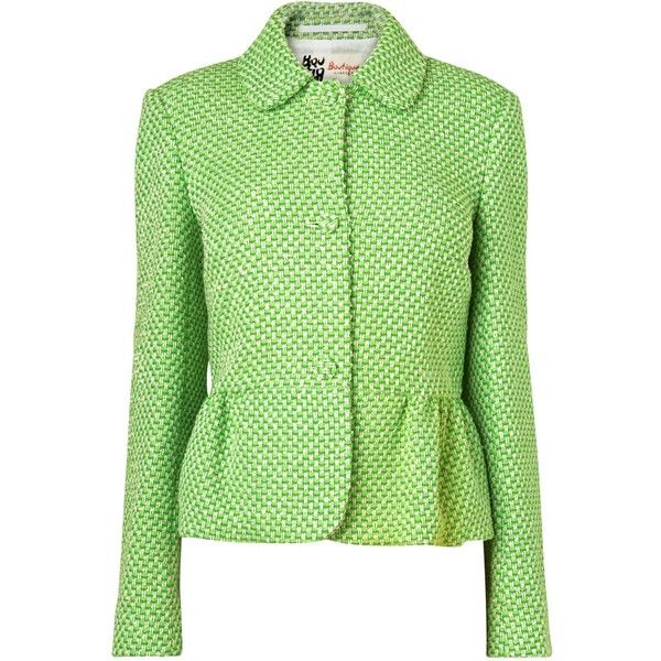 Boutique by Jaeger Emma Tweed Jacket, Bright Green ($300) ❤ liked on Polyvore
