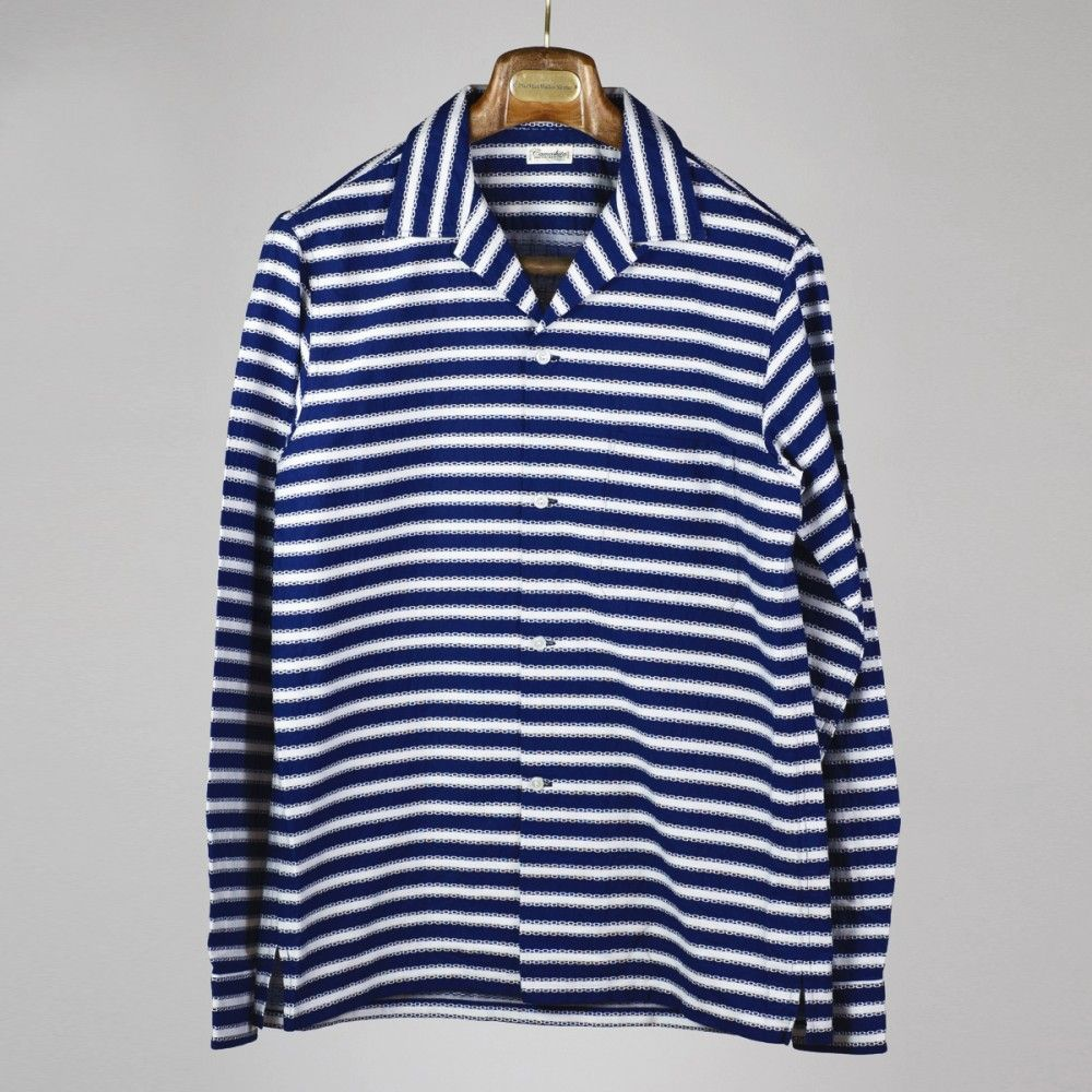 a1f961b696 Camoshita - Navy   white jacquard stripe Capri collar shirt