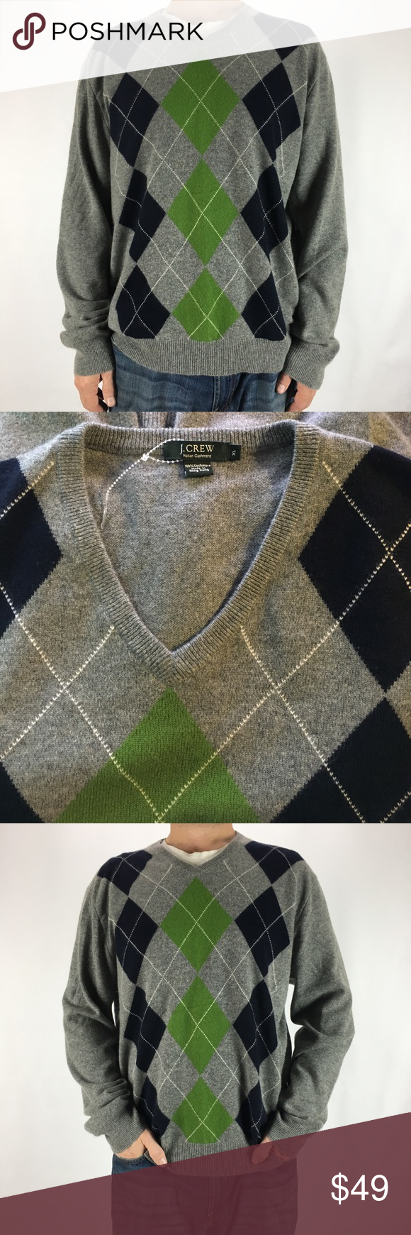 Men's J.CREW Italian Cashmere Argyle Sweater XL | Navy green ...