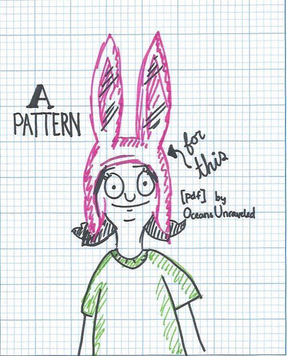 Louise Belcher Crochet Hat Pattern by OceansUnraveled on Etsy | Spin ...