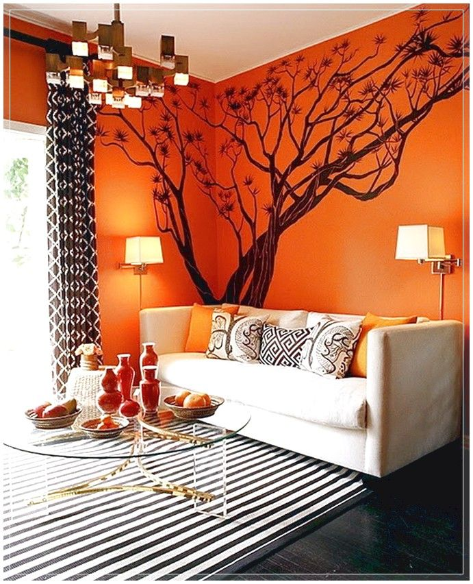 Black and white striped walls orange walls and - Black and orange living room ideas ...