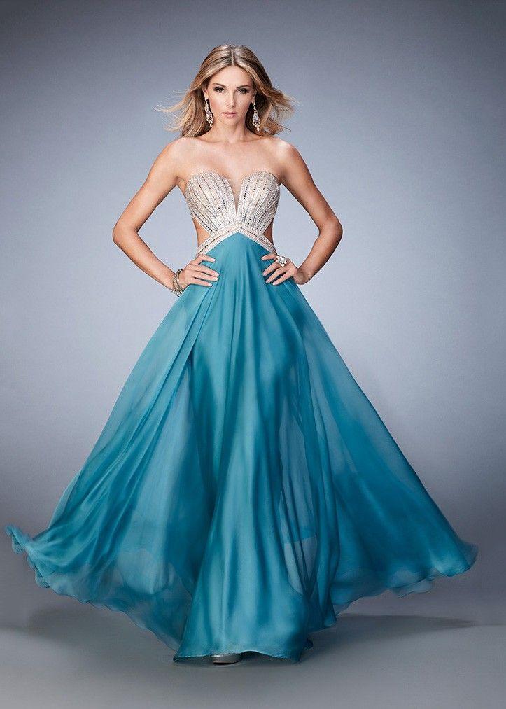 Teal Sequin Prom Dress Strapless Back