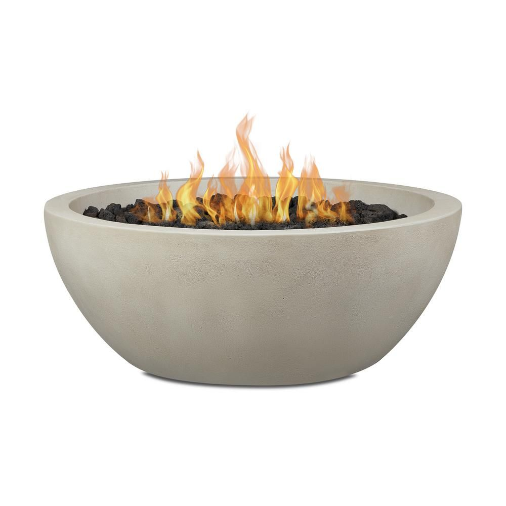 Pompton 38 In Round Concrete Composite Propane Fire Pit In Fog With Vinyl Cover 131lp Fog The Home Depot In 2020 Propane Fire Bowl Fire Bowls Propane Fire Pit