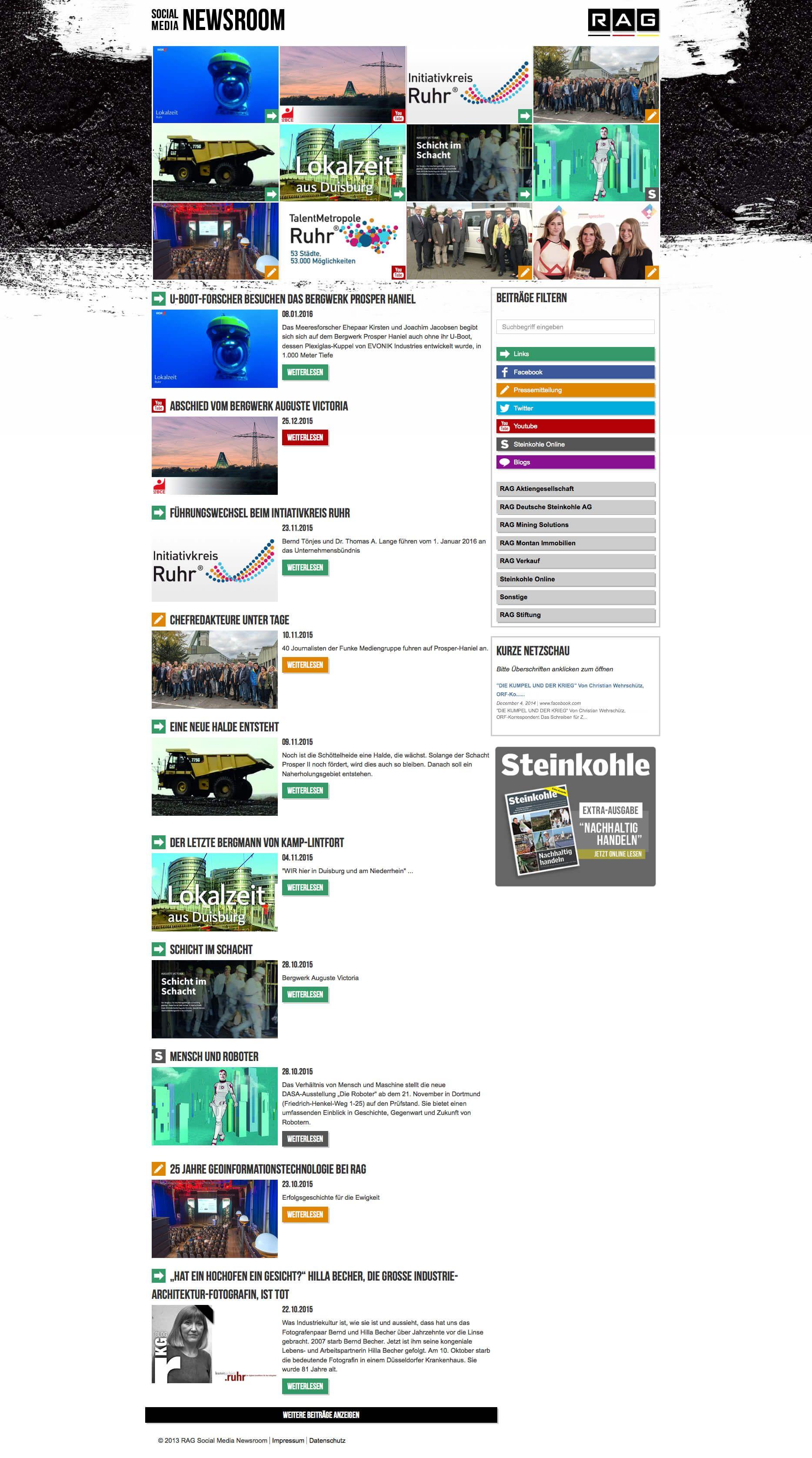 Die Startseite in der Desktop-Ansicht