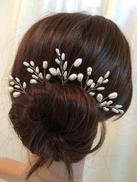 Bridal hair accessories, wedding hair pins, pearl hair