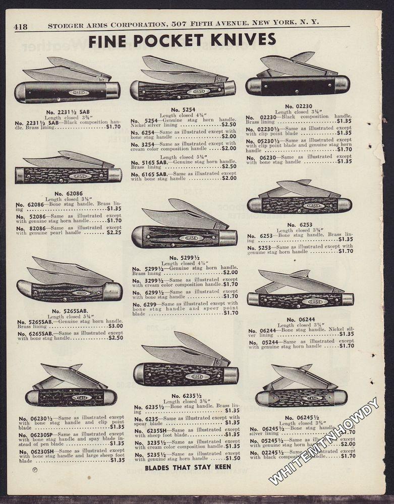1942 Case Antique Pocket Knife Ad 11 Knives Shown W